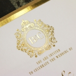 Gold Foil Baroque Gates Wedding Invite Design
