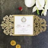 Gold Foil Baroque Gates Wedding Invitation Card Design