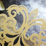 Golden Baroque Gates Wedding Card Design