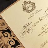Golden Baroque Gates Wedding Invitation Design