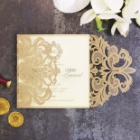 Golden Baroque Gates Wedding Invitation Card Design