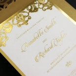 Golden Baroque Pocket with Foil Wedding Card