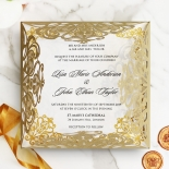 Golden Divine Damask Wedding Invitation Card Design