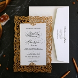 Golden Floral Lux Wedding Invitation