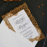 Golden Floral Lux Wedding Invitation Card