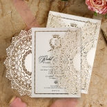 Ivory Doily Elegance with Foil Invite Card Design