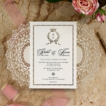 Ivory Doily Elegance with Foil Invite Card