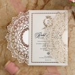 Ivory Doily Elegance with Foil Wedding Card