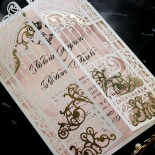 Ivory Victorian Gates Wedding Invite Card Design
