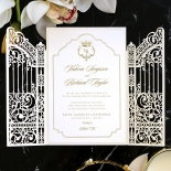 Ivory Victorian Gates with Foil Wedding Invite Card