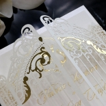Ivory Victorian Gates with Foil Wedding Invitation Card