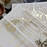 Ivory Victorian Gates with Foil Wedding Card