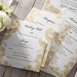 Prosperous Golden Pocket Wedding Invite Card