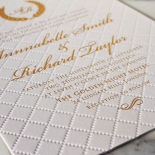 Quilted Letterpress Elegance Wedding Invitation Card