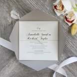 Unique Grey Pocket with Regal Stamp Wedding Invite