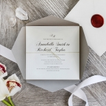 Unique Grey Pocket with Regal Stamp Invite