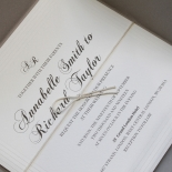 Unique Grey Pocket with Regal Stamp Wedding Card