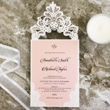 White Lace Drop Wedding Invite Card Design