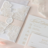 Foil Stamped Floral Laser Cut Elegance - Wedding Invitations - BH1680-F - 184164