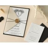 Ebony Foiled Wreath - Wedding Invitations - WP-CU550-B-01 - 184327