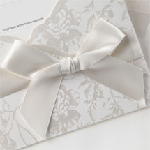 Classic white pocket invite with vintage floral pattern
