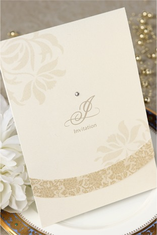 Vintage Gold Floral Wedding Invitation