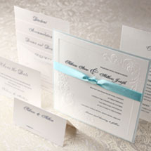 Embossed vintage inspired wedding invitation and stationery set