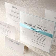 Embossed vintage inspired wedding invitation and stationery set