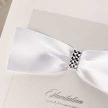 Classic white invitation with formal crystal embellishments