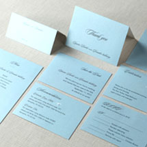 Complete light blue wedding stationery package