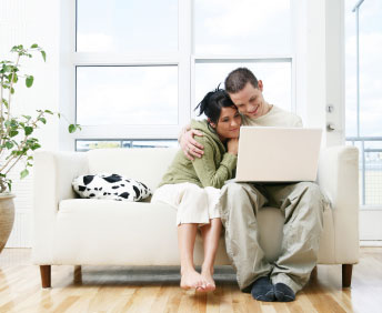 Bridal couple browsing wedding invitations perth online