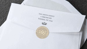 Free silk lined wedding invitation envelopes with bonus gold seal sticker