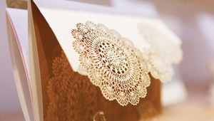 Rustic inspired wedding stationery with laser cut details