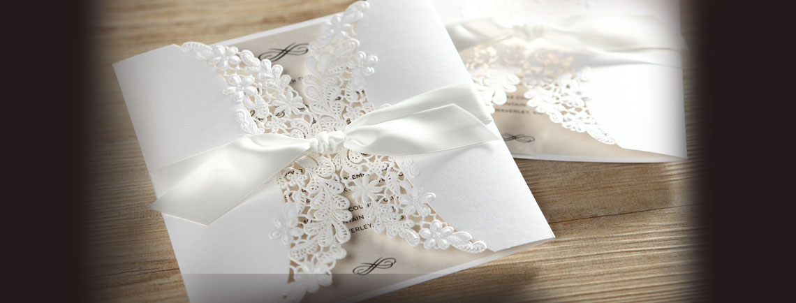 Classic floral laser cut wedding invite with gatefold
