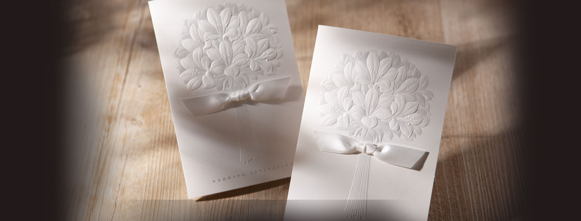 Garden theme wedding invitation with embossed floral tree