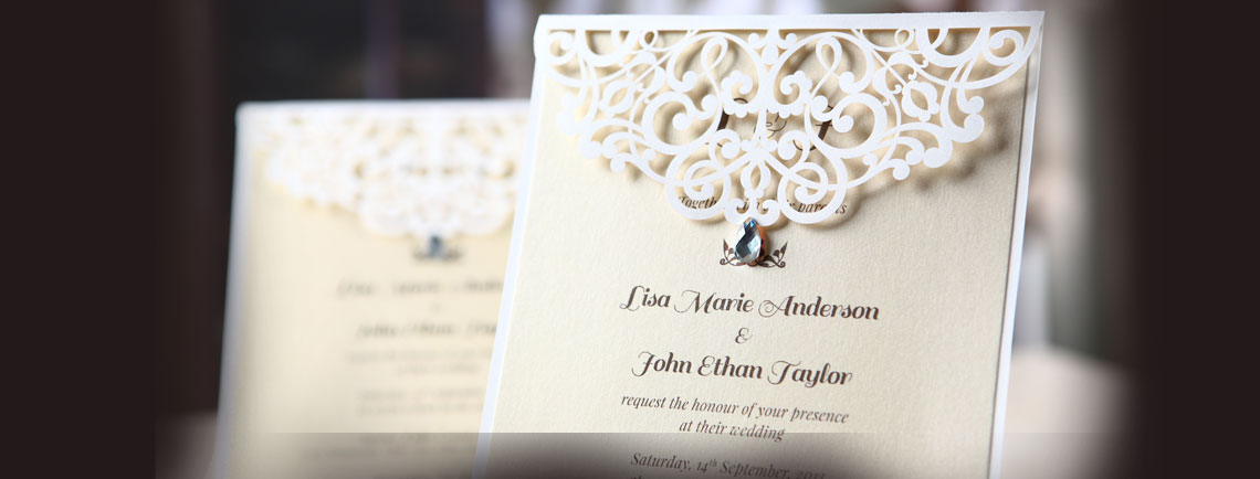 Laser cut wedding invitation, with crystal embellishment