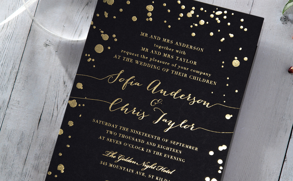 Midnight Stars in Gold Foil